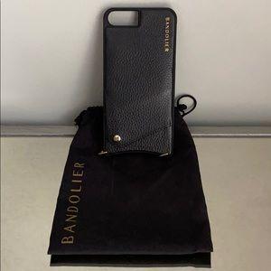 Black Pebble Leather Bandolier iPhone 7 Plus Case